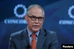 FILE - Scott Pruitt, Administrator of the U.S. Environmental Protection Agency, answers a question during the Concordia Summit in Manhattan, New York, cott Pruitt, Administrator of the U.S. Environmental Protection Agency, answers a question during the Concordia Summit in Manhattan, New York, Sept. 19, 2017.