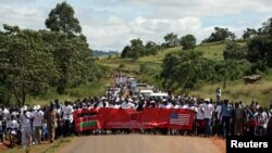 A marching campaign against female genital mutilation, Trans Mara District, Kenya, April 21, 2007.