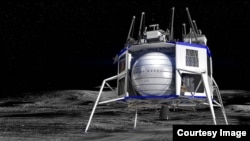 Shown is an artist's concept of a Blue Origin commercial lunar lander on the Moon. Blue Origin was one of five companies announced on Nov. 18, 2019, as taking part in NASA's Commercial Lunar Payload Services or CLPS initiative. (Image Credit: Blue Origin