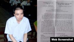 Hồ Duy Hải tại phiên tòa thúc thẩm năm 2009 và Thông báo của VKSND Tối cao ngày 28/11/2019. Photo by Facebook and Nguyen Thi Loan