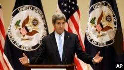 ທ່ານ John Kerry ລັດຖະມົນຕີກະຊວງການຕ່າງປະເທດສະຫະລັດ ຖະແຫລງກ່ຽວກັບນະໂຍບາຍການຕ່າງປະເທດສະຫະລັດຄັ້ງທໍາອິດຂອງທ່ານ ໃນວັນທີ 20 ກຸມພາ 2013 ທີ່ມະຫາວິທະຍາໄລ Virginia ໃນເມືອງ Charlottesville ລັດເວີຈີເນຍ