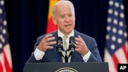 FILE - U.S. Vice President Joe Biden speaks at the 7th U.S.-China Strategic and Economic Dialogue (S&ED) and 6th Consultation on People-to-People (CPE) at the U.S. State Department in Washington, June 23, 2015.