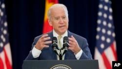 FILE - U.S. Vice President Joe Biden speaks at the U.S. State Department in Washington, June 23, 2015.