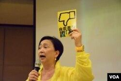 香港民主黨主席劉慧卿。(美國之音湯惠芸攝)
