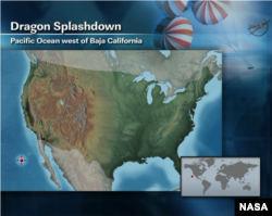 This NASA graphic depicts the location of the splashdown for the SpaceX Dragon capsule in the Pacific Ocean off the coast of Baja California, May 31, 2012.