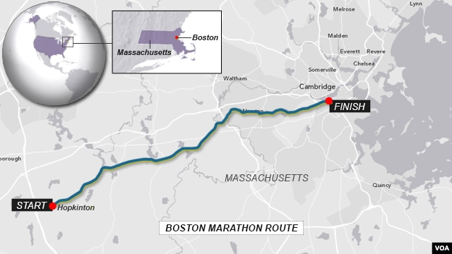 Boston Marathon - route of the race.
