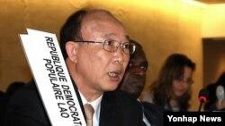 지난 2011년 3월 스위스 제네바에서 열린 유엔 인권이사회에서 발언하는 서세평 제네바 주재 북한 대사. (자료사진)