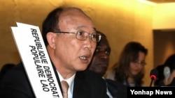 지난 2011년 3월 스위스 제네바에서 열린 유엔 인권이사회에서 서세평 제네바 주재 북한 대사가 발언하고 있다. (자료사진)