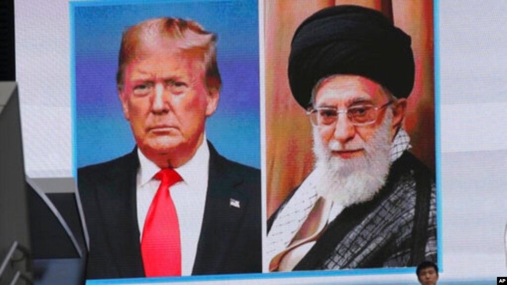 Chân dung Tổng thống Hoa Kỳ Donald Trump và Lãnh tụ tối cao Iran Ayatollah Ali Khamenei.