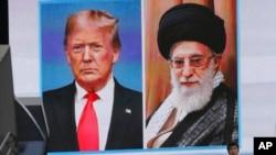 Perezida Donald Trump wa leta zunze ubumwe z'Amerika (i bumoso) n'Umuyobozi w'ikirenga wa Irani, Ayatollah Ali Khamenei.
