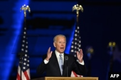 US President-elect Joe Biden delivers remarks in Wilmington, Delaware, on November 7, 2020, after being declared the winner of the presidential election.