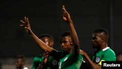 Des joueurs de l'équipe du Nigeria, lors d'un match contre le Sénégal, le 23 mars 2017.