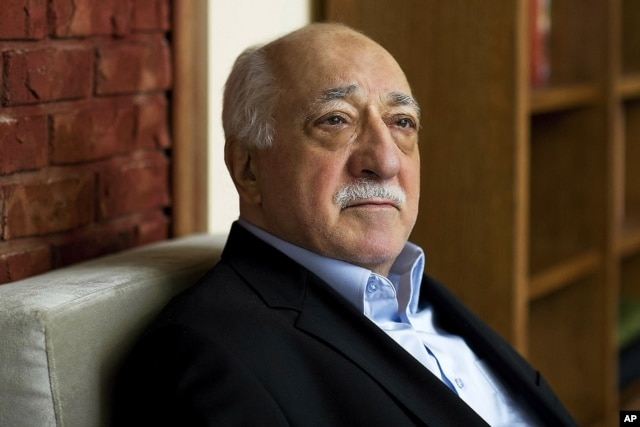 FILE - In this March 15, 2014, file photo, Turkish Islamic preacher Fethullah Gulen is pictured at his residence in Saylorsburg, Pa. Gulen is charged in Turkey with plotting to overthrow the government in a case his supporters call politically motivated.