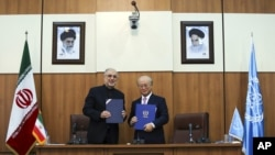 Head of Iran's Atomic Energy Organization Ali Akbar Salehi, left, and IAEA Director General Yukiya Amano, pose for a photo following their meeting in Tehran, Nov. 11, 2013.