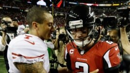 San Francisco quarterback 49ers Colin Kaepernick, left, speaks with Atlanta Falcons quarterback Matt Ryan during the second half of the NFL football NFC Championship game, Jan. 20, 2013, in Atlanta.