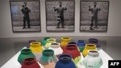 Works by Chinese artist Ai Weiwei are displayed October 2, 2012 at the Hirshhorn Museum in Washington, DC.
