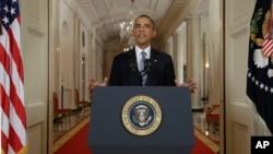 Obama akilihutubia taifa kwa njia ya televisheni kuhusu maamuzi yake huko Syria.