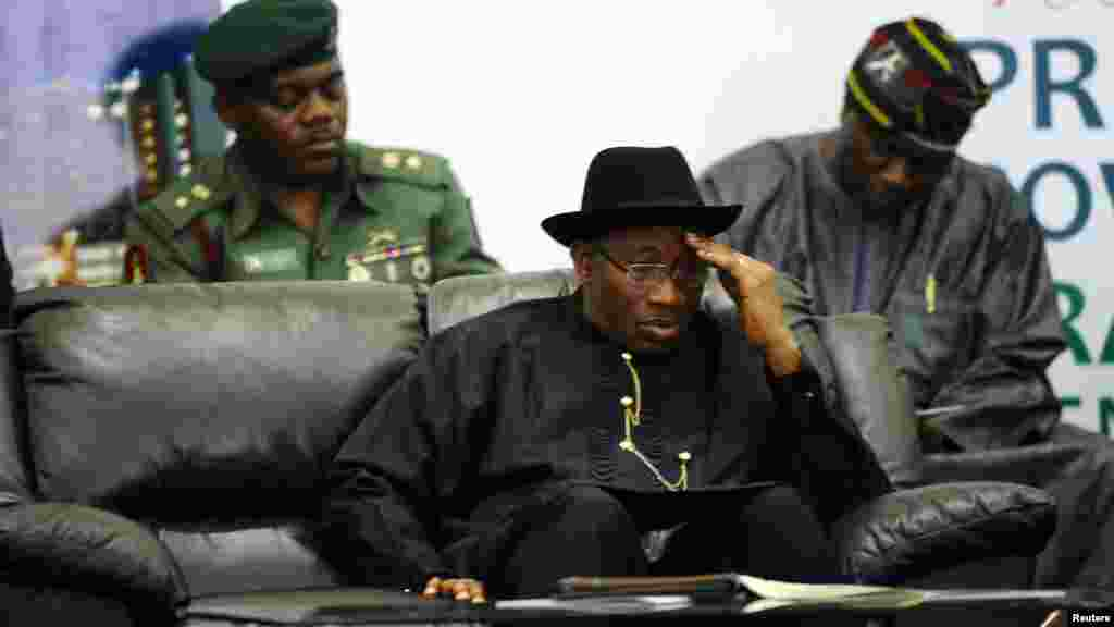 Nigeria's President Goodluck Jonathan reacts during a meeting of the Presidential Task Force on Power (PTFP).