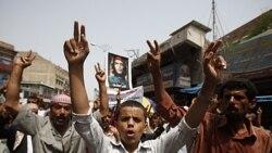 مخالفان علی عبدالله صالح در تعز، یمن. ۷ ژوئیه ۲۰۱۱