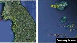 서울=연합뉴스) 인천 백령도 인근 해상에서 규모 4.9 지진이 발생하는 등 1주일 사이 8차례지진이 관측됐다. 18일 기상대에 따르면 이날 오전 7시 2분께 인천시 옹진군 백령도 남쪽 31km 해역에서 규모 4.9의 지진이 발생했다. 사진은 지진발생 위치. 2013.5.18 << 기상청 >>