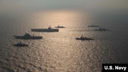 美日印澳四國軍艦參與2020年馬拉巴爾聯合海上軍事演習(美國海軍照片)