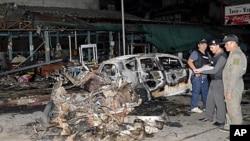 泰國暴力爆炸現場。