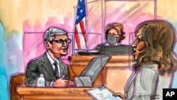 This artist rendering shows Apple CEO Tim Cook on the witness stand during a trial in San Ramon, Calif., on May 21, 2021.