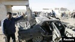 Scène de l'une des explosions, à Kirkuk, 250 km au nord de Baghdad (20 mars 2012)