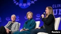 克林頓一家三口2014年出席克林頓基金會資料照。