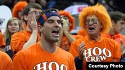 Jerry Reid on the University of Virginia's Hoo Crew. He's the one in the orange wig.