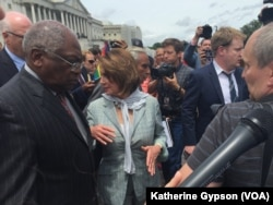 From left, Congressman James Clyburn and House Minority Leader Nancy Pelosi on the Capitol steps, June 23, 2016. After ending their sit-in on the House floor, House Democrats went outside to thank supporters who had gathered.