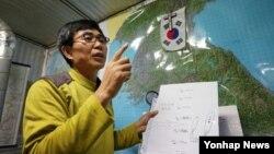 '북한동포직접돕기운동' 대북풍선단은 31일 102만 장의 대북전단을 비공개로 북으로 날려보냈다고 밝혔다. 사진은 이 단체의 이민복 단장.