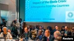 Tổng giám đốc IMF Christine Lagarde, Chủ tịch Ngân hàng Thế giới Jim Yong Kim, Tổng thống Guinea Alpha Conde và Tổng thư ký Liên Hiệp Quốc Ban Ki-moon họp bàn về cuộc khủng hoảng Ebola tại Washington, ngày 9/10/2014.