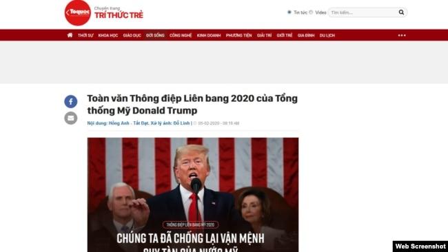 """Hình ảnh tiêu đề bản dịch """"toàn văn"""" phát biểu của TT Trump của chuyên trang Trí thức trẻ của tờ Tổ Quốc."""