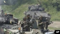 8일 경기도 파주에서 실시한 미-한 연합 전차훈련