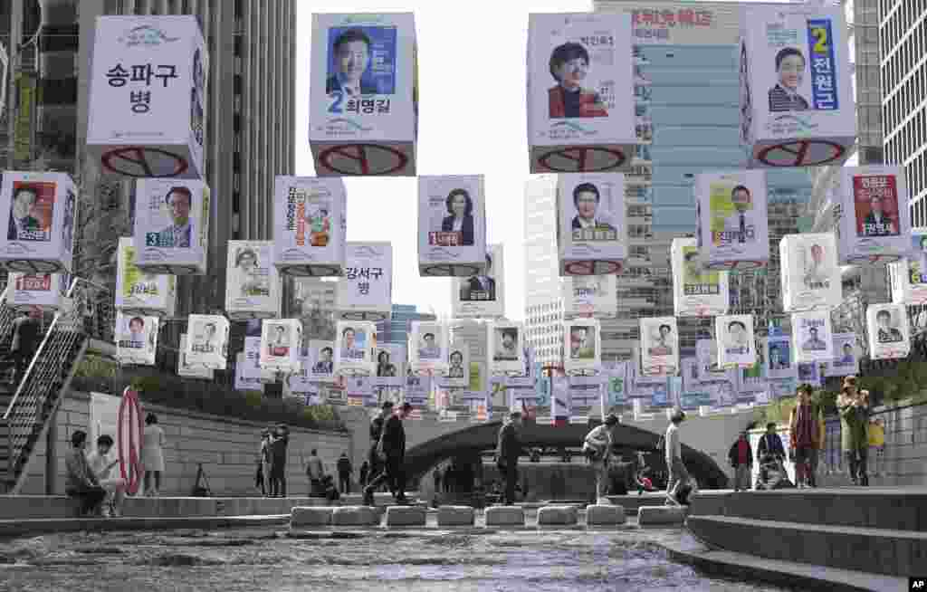 Election posters of 376 candidates for Seoul's constituencies in the April 13 general elections are hung over the Cheonggye Stream in Seoul, South Korea.