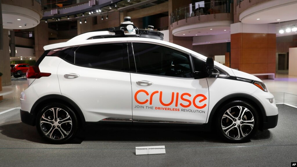 In this Jan. 16, 2019, file photo, Cruise AV, General Motor's autonomous electric Bolt EV is displayed in Detroit. (AP Photo/Paul Sancya, File)