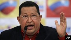 Venezuelan President Hugo Chavez speaks during a news conference, his first as presidential candidate of the United Socialist Party of Venezuela for the upcoming elections, in Caracas, July 9, 2012.