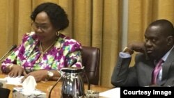 Information Minister Monica Mutsvangwa and Foreign Affairs Minister Sibusiso Moyo at a ministerial briefing in Harare.