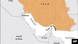 Map showing Strait of Hormuz