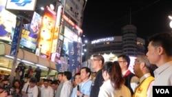 國民黨主席馬英九為國民黨台北市長候選人連勝文助選。(美國之音許波拍攝)