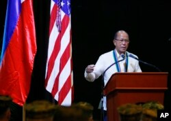 "FILE - Philippine Defense Chief Delfin Lorenzana addresses military officers at the closing ceremony of the joint Philippines-U.S. military exercise dubbed ""Balikatan 2017"" (Shoulder-to-Shoulder), May 19, 2017, at Camp Aguinaldo in suburban Quezon city, northeast of Manila, Philippines."