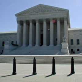 Ballards help protect the entrance of the Supreme Court, 07 May 2010