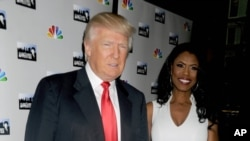 "Donald Trump et Omarosa Manigault Newman lors d'un événement promotionnel pour ""The Apprentice"" à New York, 2018."