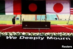A coffin containing the body of a victim who was killed in the attack on the Holey Artisan Bakery and the O'Kitchen Restaurant, is pictured during a memorial ceremony in Dhaka, Bangladesh, July 4, 2016.
