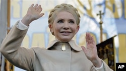 Former Ukranian Prime Minister and opposition leader Yulia Tymoshenko attends a rally in Kiev, Ukraine, January 22, 2011