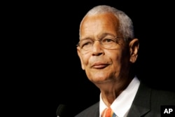FILE- NAACP Chairman Julian Bond addresses the civil rights organization's annual convention in Detroit, Michigan, July 8, 2007.