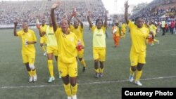 FILE: The Mighty Warriors celebrating after beating the Indomitable Lionesses of Cameroon. (Photo: ZIFA website)