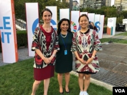 #UNGA74: Helena Fraser, UN Resident Coordinator in Uzbekistan; Tatyana Sin, Khorezm-based environmentalist, and VOA's Navbahor Imamova, New York, September 23, 2019