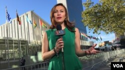 VOA Spanish reporter Celia Mendoza reporting from the U.N.